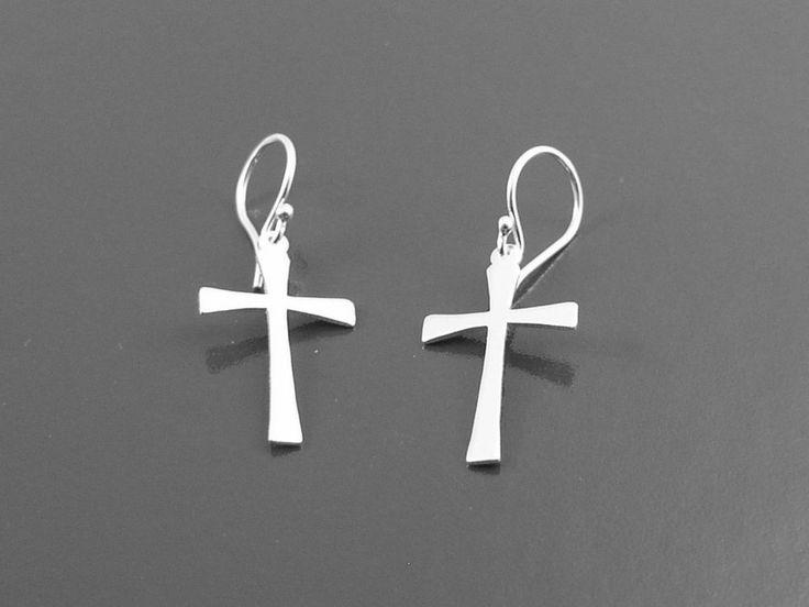 Sterlingsilber 925 Kreuz Ohrringe Silver Cross Earrings Pendientes Cruz by D&Y