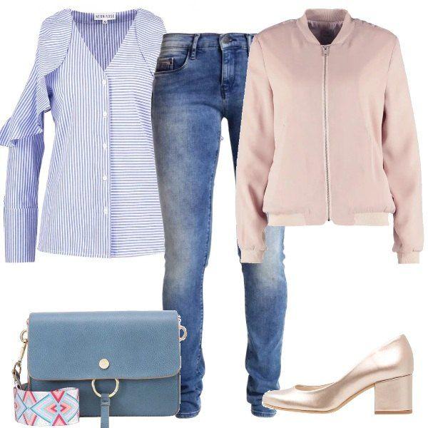 Finalmente posso indossare i miei colori preferiti per la primavera: il rosa e l'azzurro. Ho scelto per voi: splendida camicia a righe da indossare con i jeans, sopra ci abbiniamo un bomber rosa. Gli accessori completano il tutto con femminilità: borsa e scarpe rosa gold.