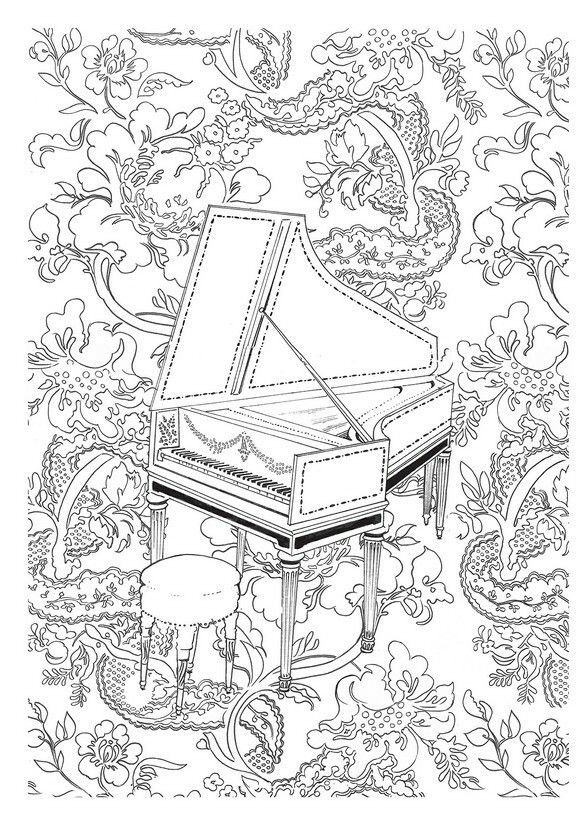 music harpsichord coloring page