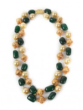 Green Stone Pearl Long Necklace
