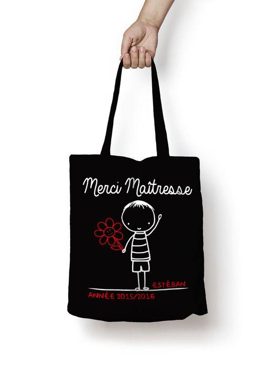 """Personnalisable sac shopping , sac de cours noir """"merci maîtresse"""" version garçon choisir le prénom"""
