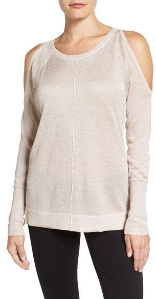 Vince Camuto Metallic Knit Cold Shoulder Sweater adds subtle sparkle to a delicately knit cold-shoulder sweater.