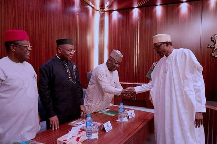 PRESIDENT MUHAMMADU BUHARI MEETING WITH A DELEGATION OF GOVERNORS' FORUM AT THE STATE HOUSE IN ABUJA JAN 25 2018    R-L; President Muhammadu Buhari, Akwa Ibom State Governor, Udom Emmanuel, Ebonyi State Governor, Chief Dave Umahi, Kaduna State Governor, Mallam Nasir El-Rufai, Kastina State Governor, Rt Hon Aminu Masari and Kebbi State Governor Senator Atiku Bagudu during a meeting with a delegation of Governor's Forum at the State House in Abuja.