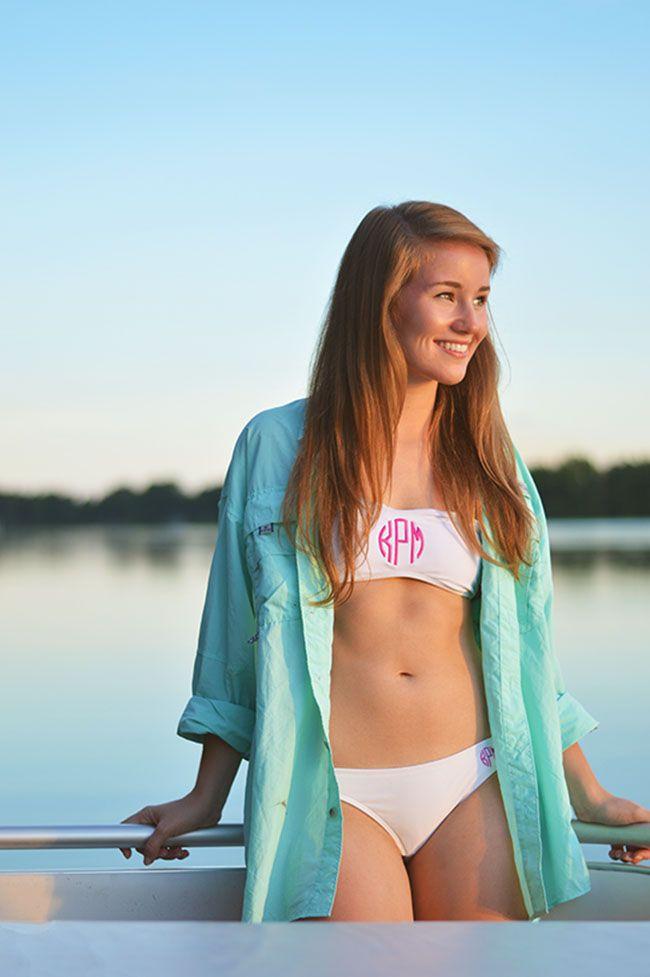 PFG + monogrammed swimsuit