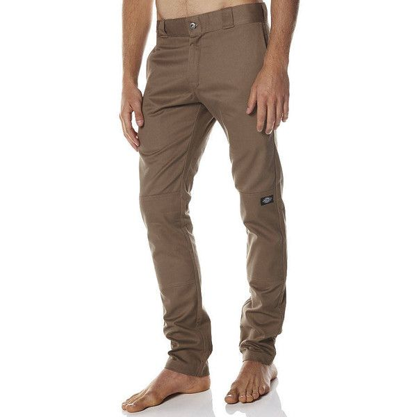 Dickies Skinny Straight Double Knee Pants Brown ($61) ❤ liked on Polyvore featuring men's fashion, men's clothing, men's pants, men's casual pants, brown, men, mens chino pants, pants, mens chinos pants and mens brown pants
