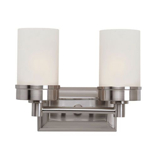 Brushed Nickel Urban Swag Double Sconce With White Frosted Glass Trans Globe Lighting 2 Li