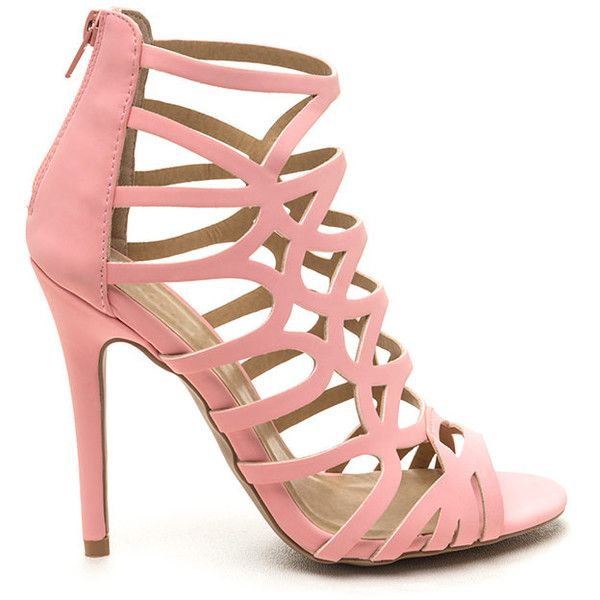 PINK Ahead Of The Curves Cut-Out Caged Heels found on Polyvore featuring shoes, pumps, heels, pink, pink stilettos, heels stilettos, high heel pumps, stiletto pumps and high heel shoes