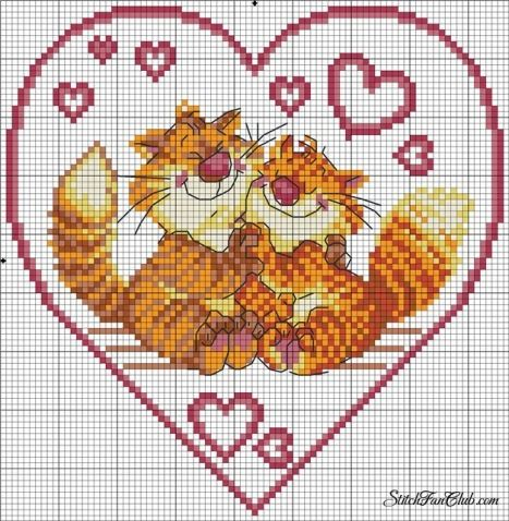 Сердечки / Вышивка / Схемы вышивки крестом, вышивка крестиком