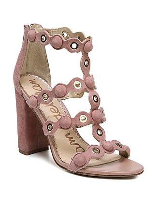 577023fb416a Sam Edelman Women s Yuli Suede Grommet Block Heel Sandals ...