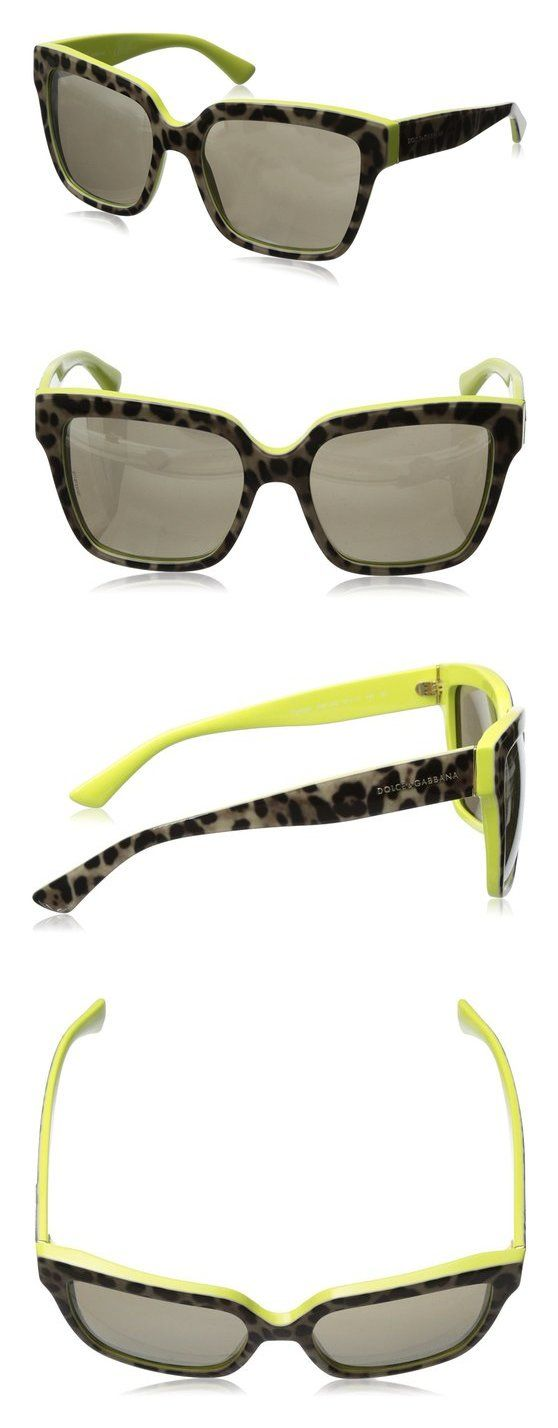 $87.62 - D&G Dolce & Gabbana Women's 0DG4234 Square Sunglasses Top Leopard/Yellow Light Brown Mirro Gold #dolceegabbana