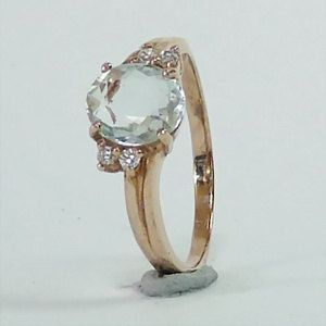 Gorgeous Aquamarine in Solid 925 Sterling Silver and Gold Plated Finish Ring Size Q or 8 - RI222