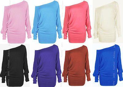 Womens PLUS SIZE Batwing Top Off Shoulder Plain Long Sleeve T Shirt Top 16-26