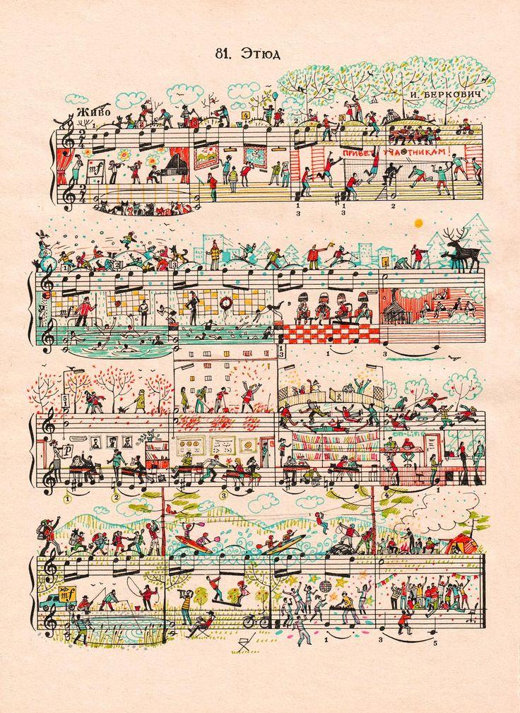 bladmuziek levend gemaakt.