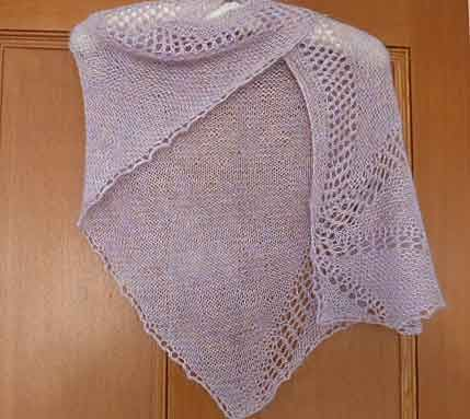 Artyarns Triangulation Shawl knitted in Rhapsody Light - only took one skein.
