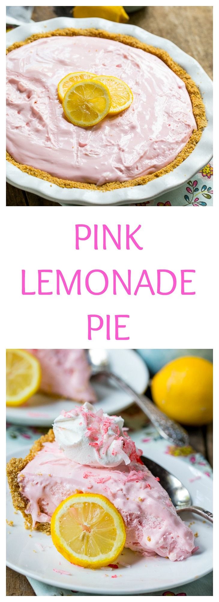 Pink Lemonade Pie - an easy no-bake pie that is the perfect summer treat!
