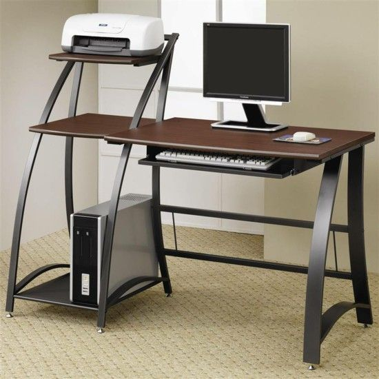 Modern office furniture, desk for computer and printer