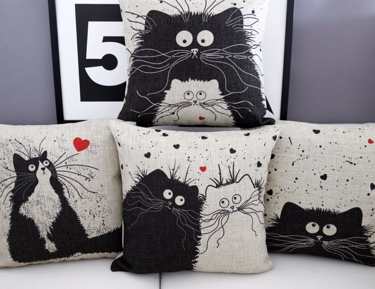 cartoon Cat pillow ,Married couples cartoon cushion ,Linen pillowcase,home decor sofa cushion,decorative Pillows
