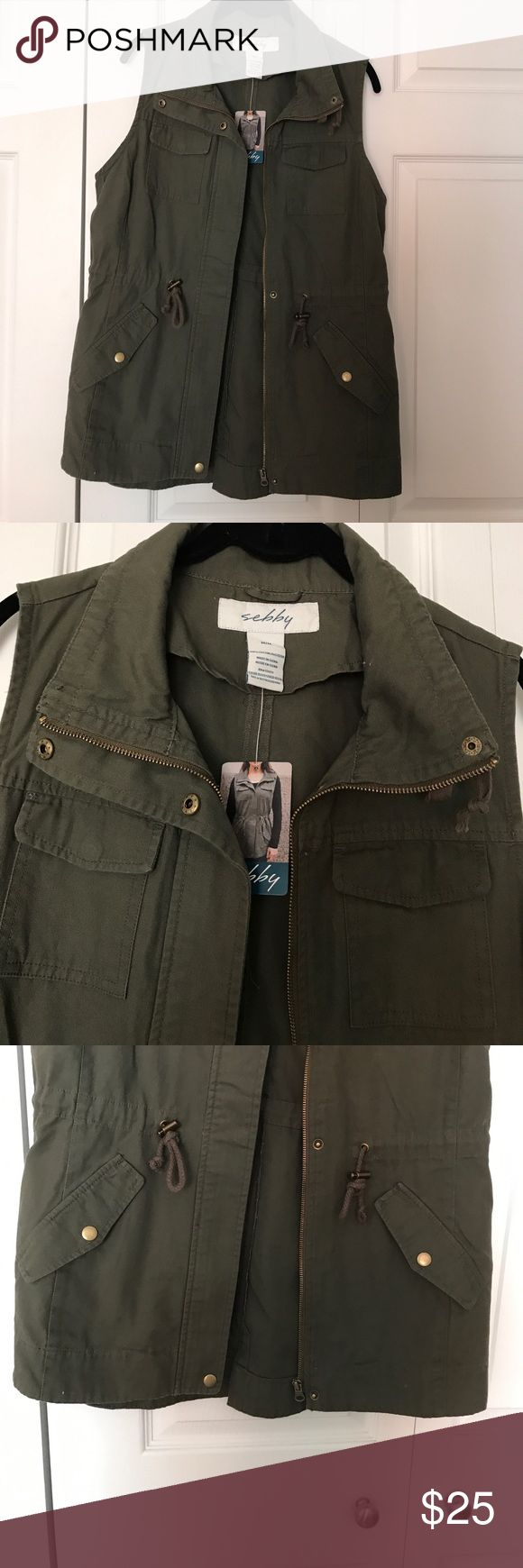 Zip up vest NWT women's zip up all of green vest size medium. Could possibly fit a size large Jackets & Coats Vests