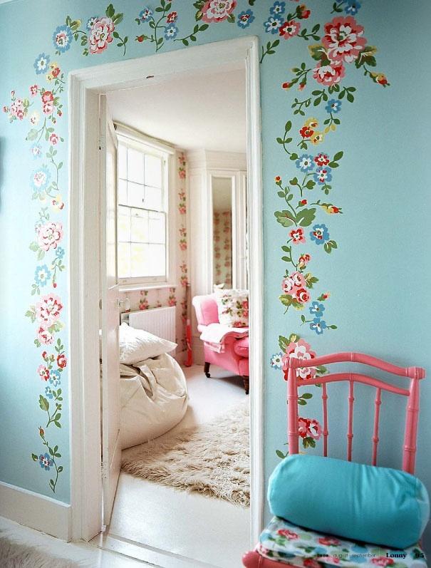 Cath Kidston home - aqua wall love the idea of the flowers vines around the door