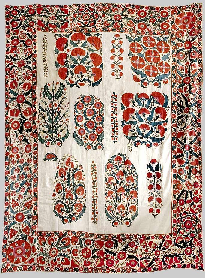 suzani / dowry embroidery nurata/ shakhrisyabz   silk on cotton with bokhara couching, and tambour stitches. date - 1840s.
