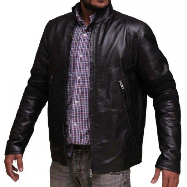 Black Stripes Mens Designer Leather Jacket