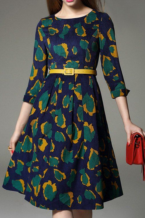 Print Jewel Neck 3/4 Sleeve Midi Dress