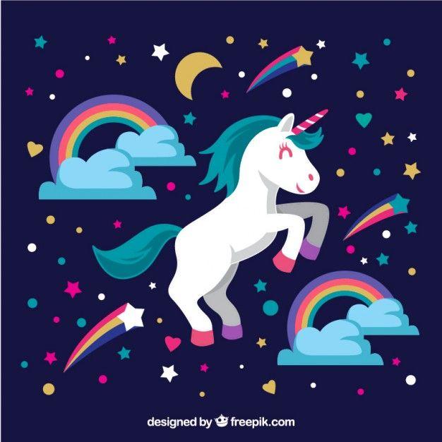 Unicórnio bonito com arco-íris e estrelas Vetor Premium