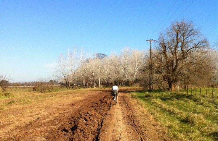 por el campo argentino , en bicicleta. buenos aires, argentina