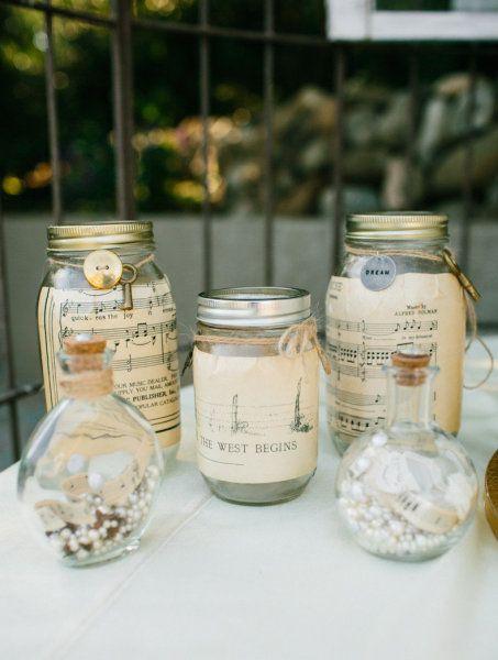 Music sheet mason jars