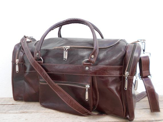 Duffel Bag sports Bag gym utility travel leather bag cabin weekend Bag outing overnight bag.  100% Handmade with Genuine Soft Leather.  Dimensions: $69.00