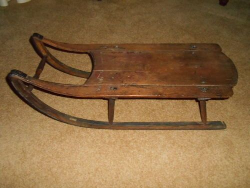 Antique old vintage primitive child wooden wood snow for Vintage sleds