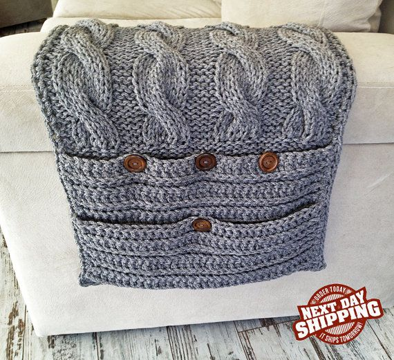 New Colors! New collection! 6 Pockets Gray Sofa Organizer+Remote Control Holder bag On TV, Hand Knit, Needles, Cordon, Cotton Rope, Gray on Etsy, 100,00 $