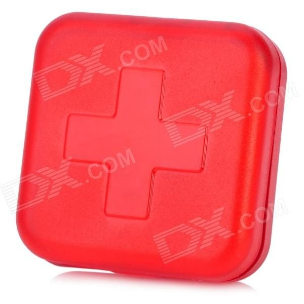 Red Cross Pattern Portable Medicine Organizer Box - Red (4-Grid)