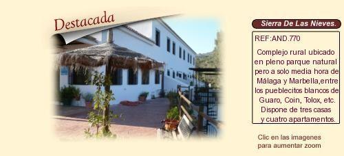 AND770 Sierra de Las Nieves.  Málaga.  Casas rurales en venta.
