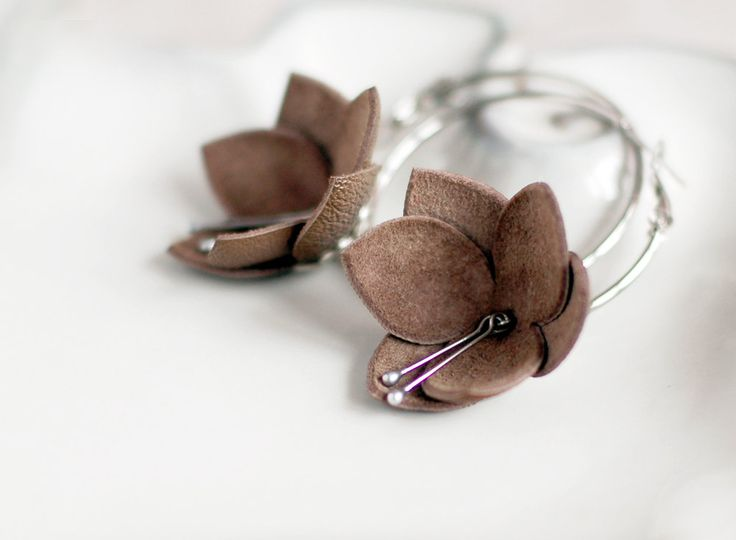 Modern style leather earrings in latte brown by imali on Etsy. $14.00, via Etsy.
