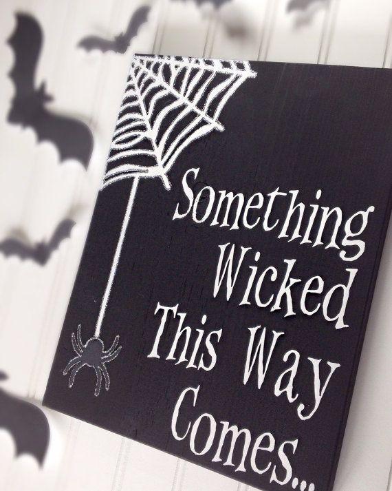 Halloween Sign Black and White Halloween Decor by WoodlandAffair