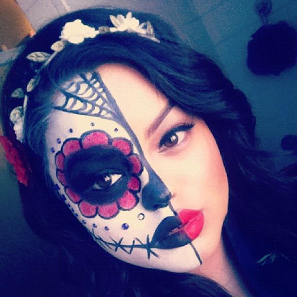Dia De Los Muertos Makeup Half Face Saubhaya Makeup