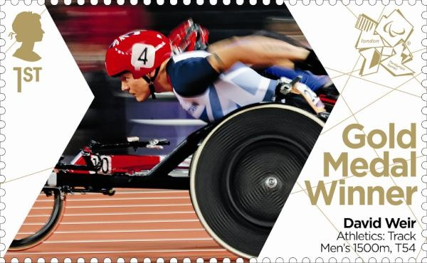 Paralympics Gold Medal Winner stamp - Athletics: Track Men's 1500m, T54, David Weir.