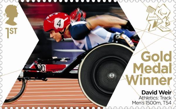 Paralympics Gold Medal Winner stamp - Athletics: Track Men's 1500m, T54, David Weir.