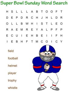 printable word searches for Super Bowl - easy and challenging versions