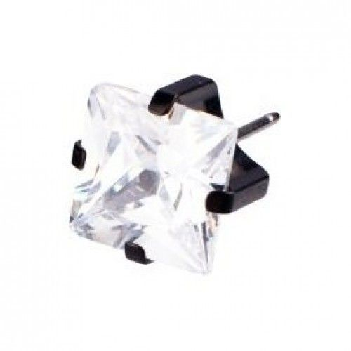 Medical Earrings - Black Titanium Tiffany Square 5mm White (Nickel Free)