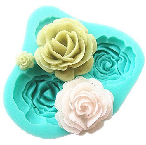 Pard 4 Size Roses Flower Silicone Cake Mold Chocolate Sugarcraft Decorating Fondant Fimo Tool, Blue - http://bestchocolateshop.com/pard-4-size-roses-flower-silicone-cake-mold-chocolate-sugarcraft-decorating-fondant-fimo-tool-blue/