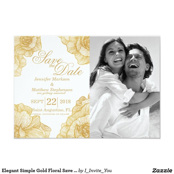 cruise wedding save the date announcement%0A Gold Foil Save the Date Wedding Cards Elegant Simple Gold Floral Save the  Dates Card