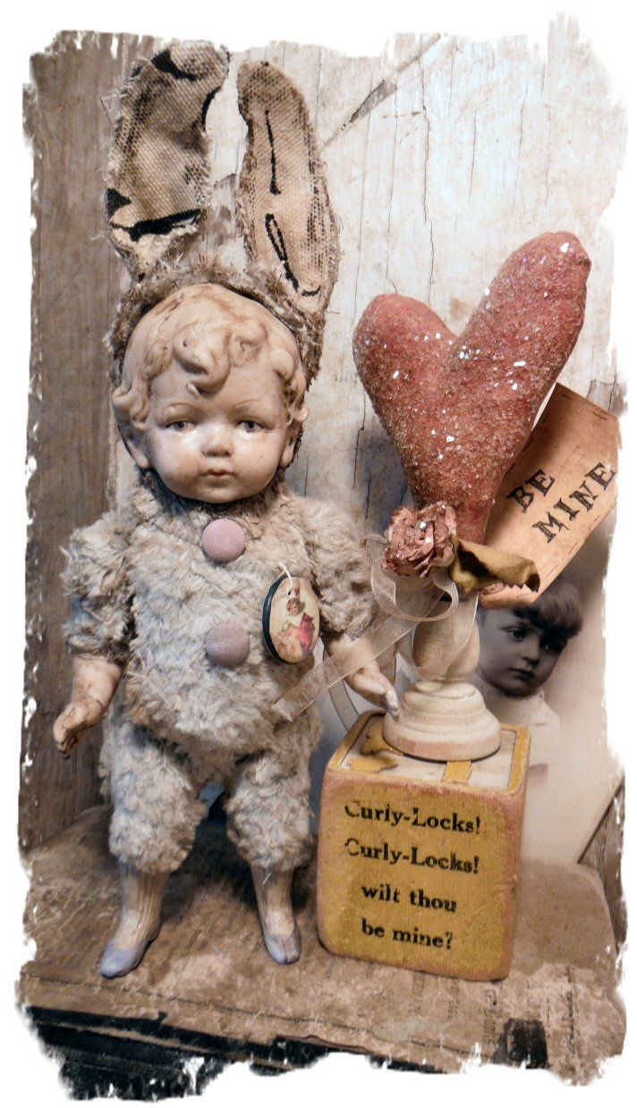 antique bisque doll made into an adorable mohair bunny valentine