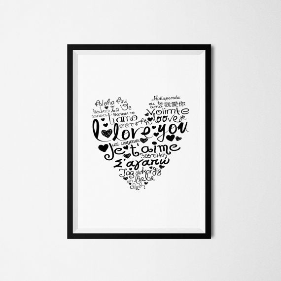 Printable art decoration with I love you phrase by GraphicCorner