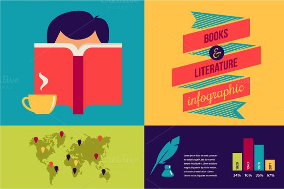 Check out Books Infographic and icons by Marish on Creative Market