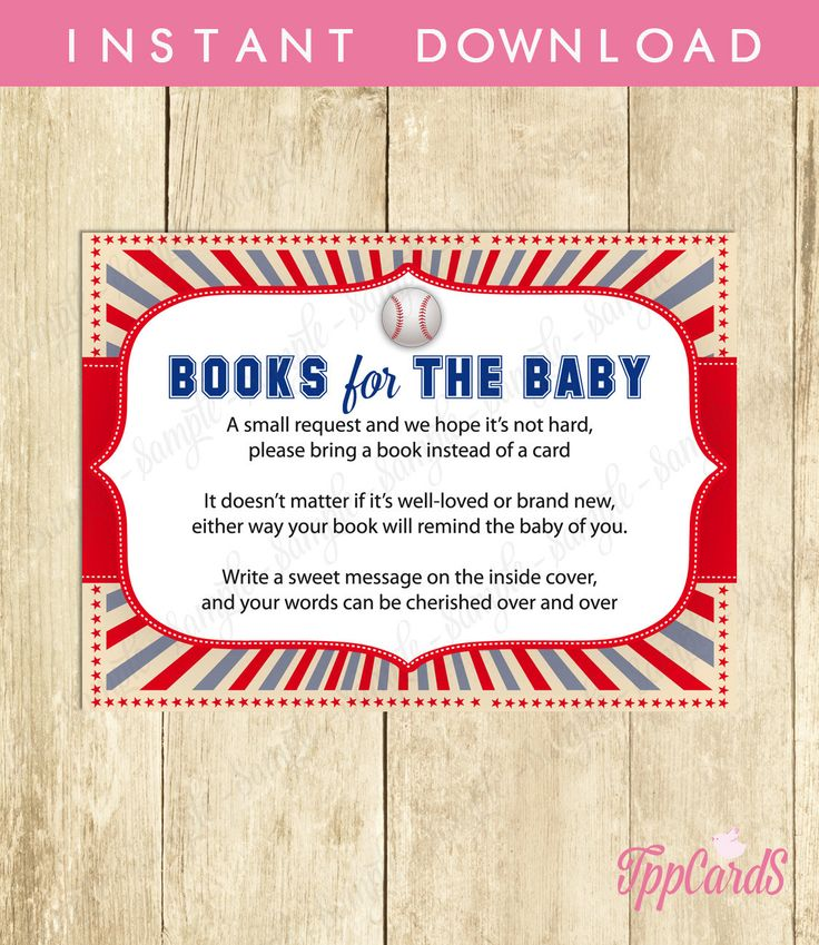 New to TppCardS on Etsy: Instant Download Baseball Book Request Red Blue Baseball Book in Lieu of Card Sports Theme Baby Shower Games One Small Request (4.00 EUR)