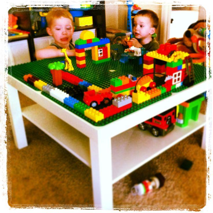DIY Lego Table = Ikea Table + Lego Base Plates + Super Glue!