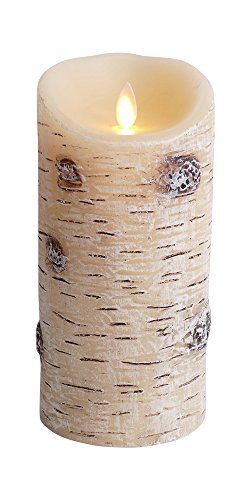 Luminara+Flameless+Candle:+Unscented+Moving+Flame+Candle+with+Timer+(7″+Birch+Bark)