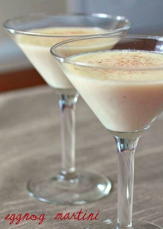 EggNog Martini INGREDIENTS: 2 1/2oz. eggnog 1oz. vanilla vodka 3/4oz. Amaretto Source: Single Minded Women DIRECTIONS: Combine ingredients in shaker and shake over ice. Strain into chilled martini glass. Dust with freshly grated nutmeg. by Susan Uran Mitchell